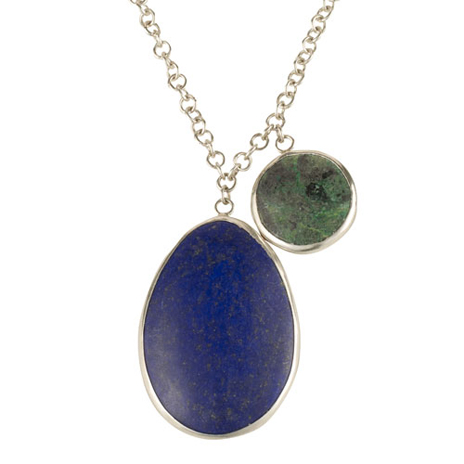 Lapis and Chrysocolla silver necklace