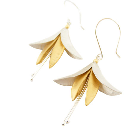 Stamen silver & gold earrings