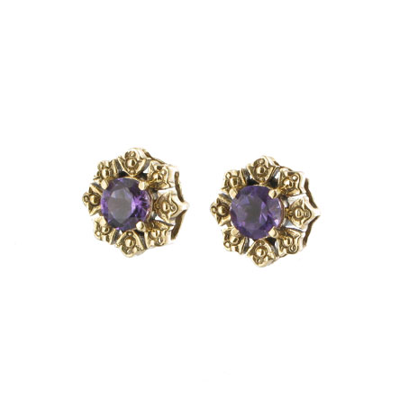 Greek amethyst stud earrings