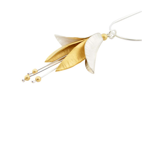 Stamen silver & gold necklace