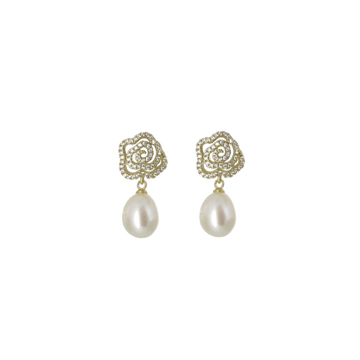 White pearl camelia drop earrings