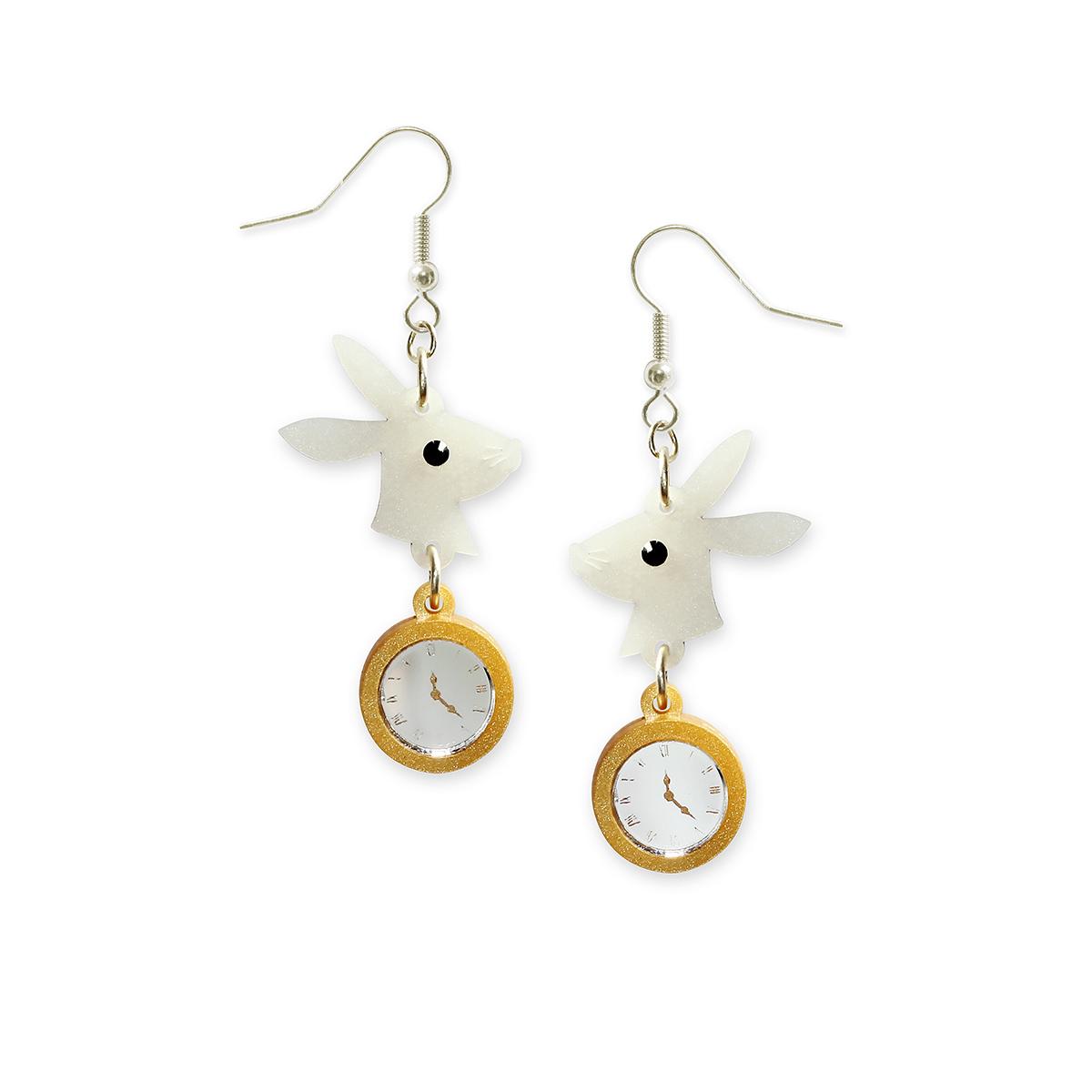 White Rabbit drop earrings